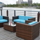 Dark Brown Outdoor Wicker Rattan 4 Piece Patio Sofa Set w/ SUNBRELLA Upgrade