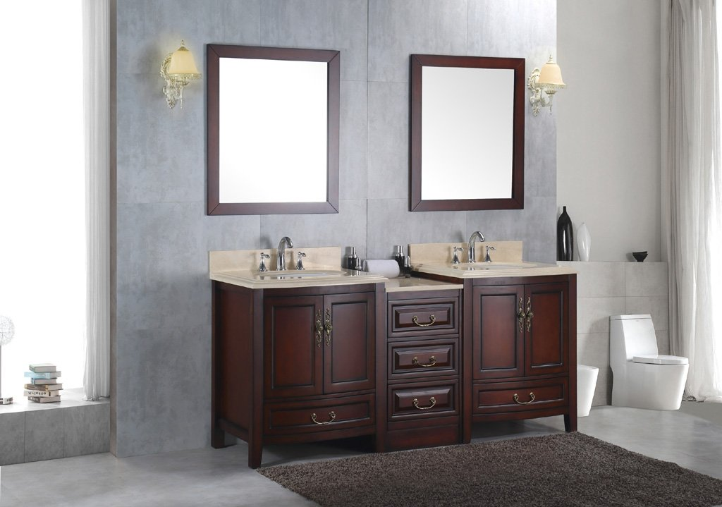 "Double 72"" Marble Bathroom Sink Vanity Solid Wood Cabinet Lavatory Furniture"