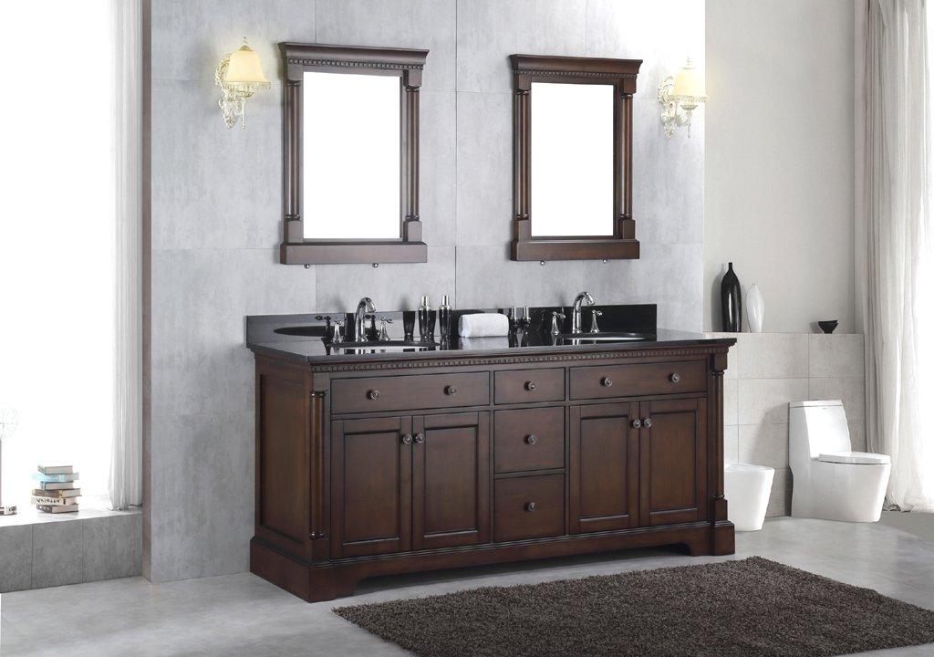 NEW Solid Wood Double Bathroom Sink Vanity Cabinet w/ Black Granite Top