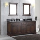 NEW Solid Wood Double Bathroom Sink Vanity Cabinet w/ Black Granite Top