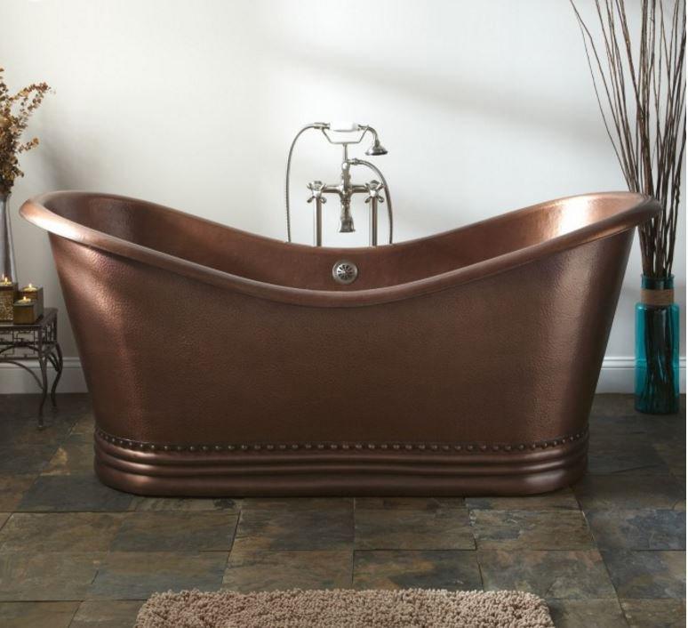 "NEW 66"" COPPER DOUBLE-SLIPPER PEDESTAL SOAKING BATHTUB TUB   100% COPPER"