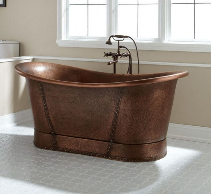 "New 72"" 100% Copper Soaking Bathtub Tub w/ Copper Rivets Slipper Style Bathroom"