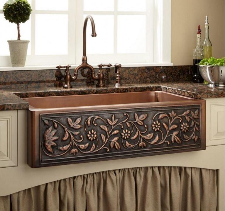 "New 36"" Vine Design Copper Farmhouse Sink Single Bowl Hammered 100% Copper"