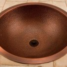"18"" HAMMERED 100% COPPER BATHROOM SINK ROUND"