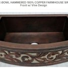 "42"" SINGLE-BOWL HAMMERED 100% COPPER FARMHOUSE SINK Curved Front w/ Vine Design"