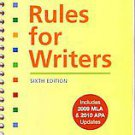 Rules for Writers With 2009 Mla and 2010 Apa Updates by Nancy Sommers, Diana ...