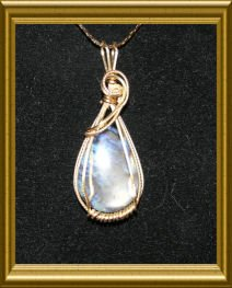 Wire Wrapped Teardrop Stone Pendant