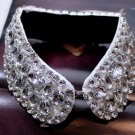 WEDDING PARTY GLASS RHINESTONE CRYSTALS BLACK CHOKER NECK COLLAR NECKLACE