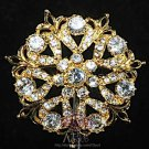 CLEAR RHINESTONE BRIDAL WEDDING ROUND VINTAGE STYLE FLOWER CRYSTAL BROOCH PIN