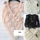 ROSE FLOWER CROCHET CAPE STOLE LONG TASSEL WRAP SHRUG COAT SHAWL SCARF