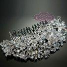 "5"" LARGE ART DECO ROSE VINTAGE STYLE BRIDAL WEDDING RHINESTONE CRYSTAL HAIR COMB"