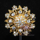 RHINESTONE CRYSTALS PENDANT BRIDAL WEDDING CAKE BUCKLE SILVER GOLD BROOCH PIN