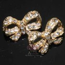 LOT OF 8 WEDDING GOLD SILVER CRAFT BUTTERFLY BOW RHINESTONE CRYSTAL BUTTON