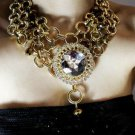 STEAMPUNK STYLE GOLD TONE RHINESTONE CRYSTAL NECK COLLAR NECKLACE CHOKER LARIATS
