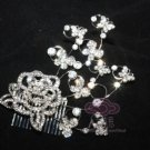 ROSE RHINESTONE CRYSTAL SILVER FLOWER DANCE BRIDAL WEDDING HAIR COMB TIARA