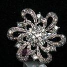 WEDDING CAKE DRESS BRIDAL RHINESTONE CRYSTAL FLORAL ROUND BROOCH PIN