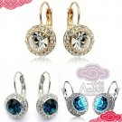 CLEAR BLUE RHINESTONE CRYSTALS PIECED EARS STUD EAR HOLE EARRINGS