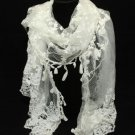 TRELLIS BY KRISTY RICE STYLE LACE LEAF TASSEL IVORY WHITE WRAP SHAWL SCARF