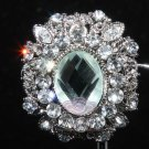 OVAL RHINESTONE CRYSTAL PENDANT SILVER WEDDING BRIDAL CAKE BROOCH PIN