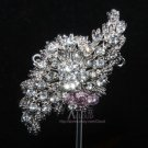 RHINESTONES CRYSTAL CRYSTALS BRIDAL WEDDING VINTAGE STYLE BROOCH PIN