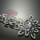 WEDDING BRIDAL LONG FLOWER RHINESTONE CRYSTAL HEADPIECES TIARA HAIR COMB