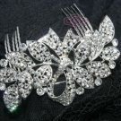 SILVER PLATED WEDDING BRIDAL CURVE CLEAR RHINESTONE CRYSTAL TIARA HAIR COMB