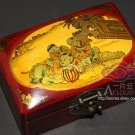 CHIENSE CHILDREN STORY ILLUSTRATION ANTIQUE PAINTING LEATHER JEWELRY WOODEN BOX