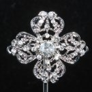 BRIDAL CRYSTAL RHINESTONE WEDDING VINTAGE STYLE BUTTON BUCKLE CROSS BROOCH PIN