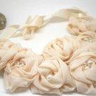 PINK FAUX PEARL WEDDING GIRLS CHIFFON LACE FLOWER CHOKER NECK COLLAR NECKLACE