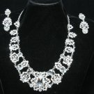 WEDDING BRIDAL RHINESTONE CRYSTAL PIECED STUD EARRINGS NECKLACE SET
