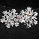 LOT OF 4 SNOWFLAKE SNOW RHINESTONE CRYSTAL SHANK METAL BUTTONS