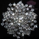 RHINESTONES CRYSTAL SILVER BRIDAL WEDDING FLOWER SILVER JEWERLY BROOCH PIN