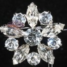 LOT OF 2 CRYSTAL RHINESTONE WEDDING SILVER BRIDAL DRESS BAG DESIGN BROOCH PIN