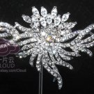 VINTAGE STYLE SILVER WEDDING HAIR TIARA CRAFT RHINESTONE CRYSTALS BROOCH PIN