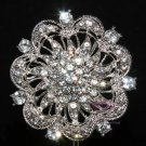 BRIDAL CAKE RHINESTONE CRYSTAL FLORAL BOUQUET STEM CRAFT SILVER BROOCH PIN