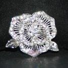 VINTAGE ROSE STYLE RHINESTONE CRYSTAL WEDDING BRIDAL DRESS CAKE BROOCH PIN