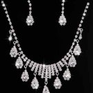 WEDDING BRIDAL RHINESTONE CRYSTAL PEAR TEARDROP CLIP ON EARRINGS NECKLACE SET