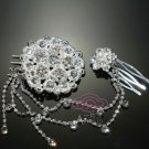 PAIR CHAIN FLOWER BRIDAL WEDDING RHINESTONE CRYSTAL HAIR PIECES COMBS