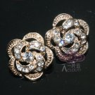 LOT OF 2 LIGHT GOLD WEDDING BRIDAL GIFT RHINESTONE CRYSTAL FLOWER ROSE BUTTON