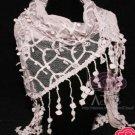 BRIDAL WEDDING CROCHET GRAYISH PINK LACE WRAP VEIL SCARF SHAWL STOLE CAPE