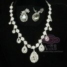 WEDDING BRIDAL RHINESTONE CRYSTAL TEARDROP CLIP ON EARRINGS NECKLACE SET