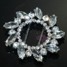 OVAL RHINESTONE CRYSTAL WEDDING SLIDER SHOES SASH ROUND BELT BUCKLE