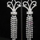 BRIDAL RHINESTONE CRYSTALS SILVER CHANDELIER EARRINGS