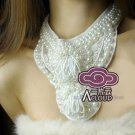 PARTY COCKTAIL WEDDING FAUX PEARL NECK COLLAR RIBBON NECKLACE CHOKER