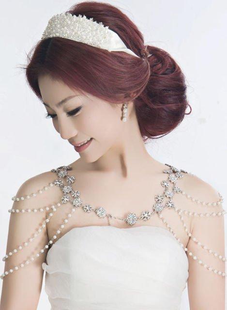 Retro Crystal Chain Rhinestone Wedding Ivory Pearl