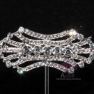 RHINESTONE CRYSTAL BRIDAL WEDDING BELT BUCKLE DRESS SILVER VINTAGE BROOCH PIN