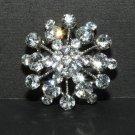 SNOW STAR RHINESTONES CRYSTAL WEDDING BRIDAL CRAFT CHARM PENDANT BROOCH PIN