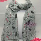 MAN-MADE SILK COSMETIC PATTERN GREY BLACK WRAP SHAWL SCARF SCARVES