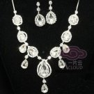 WEDDING BRIDAL RHINESTONE CRYSTAL TEARDROP PEAR STUD EARRINGS NECKLACE SET