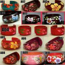 LOT OF 3 ASIA HAND DRAWING PAINT HANDCRAFT ENGRAVE WOOD BANGLE CUFF BRACELET